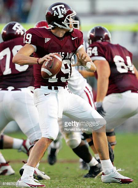 Quarterback Ty Branyon of the Texas AM University Aggies drops back to pass against the University of Oklahoma Sooners on November 6 2004 at Kyle...