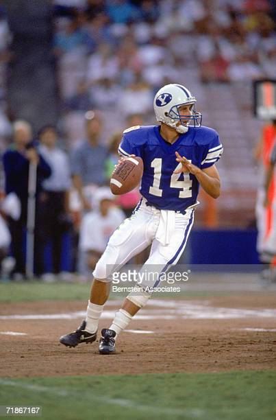 Quarterback Ty Detmer Quaterback Ty Detmer of the Brigham Young University Courgars drops back to pass during the Pigskin Classic against the Florida...