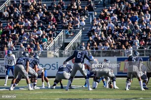 Quarterback Ty Gangi of the Nevada Wolf Pack lines up for a play against the San Jose State Spartans at Mackay Stadium on November 11 2017 in Reno...