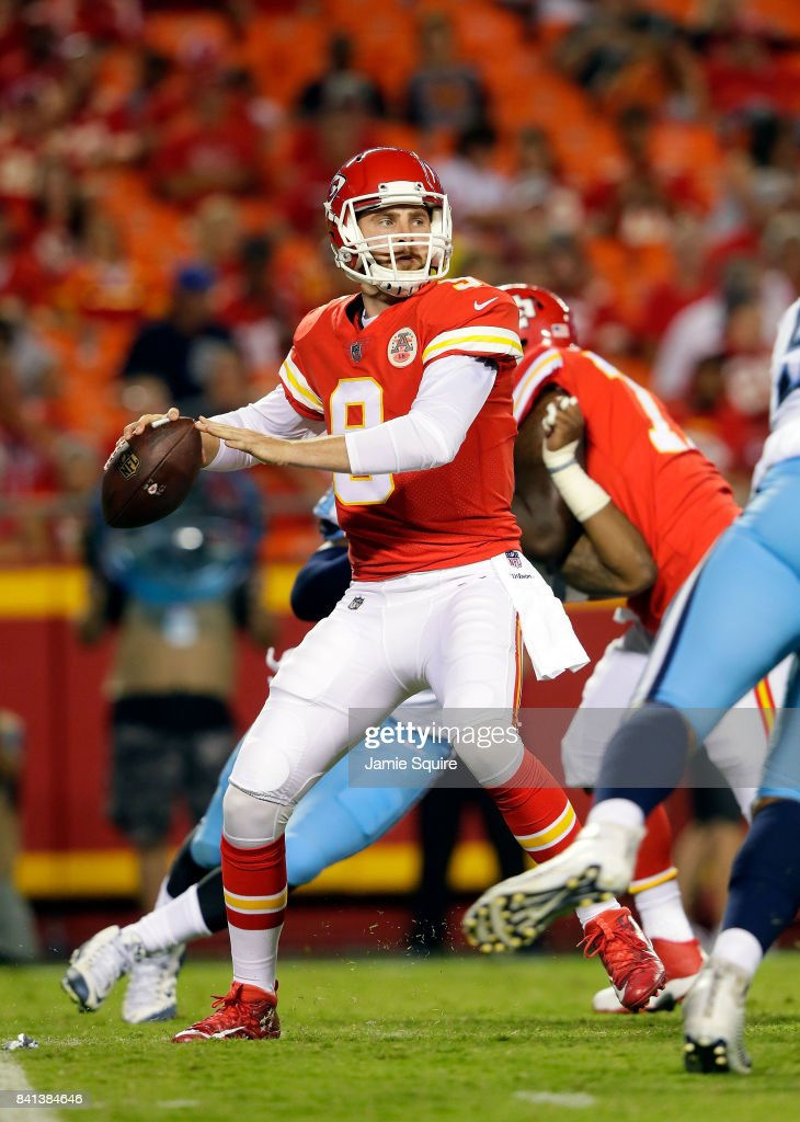 Quarterback Tyler Bray #9 of the Kansas City Chiefs passes during the game against the Tennessee Titans at Arrowhead Stadium on August 31, 2017 in Kansas City, Missouri.
