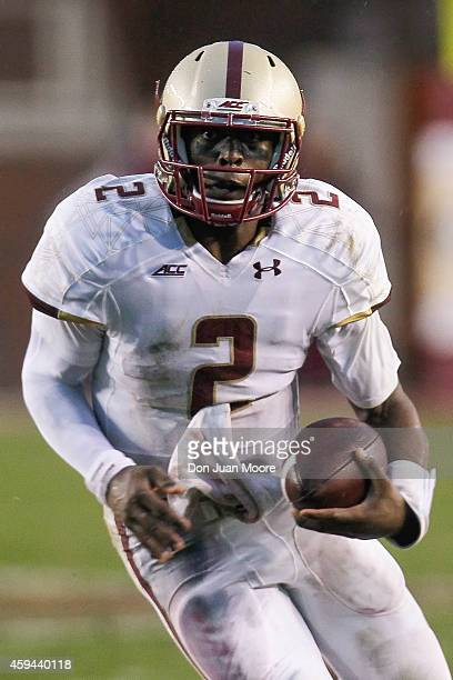 Quarterback Tyler Murphy of the Boston College Eagles on a running play during the game against the thirdranked Florida State Seminoles at Doak...
