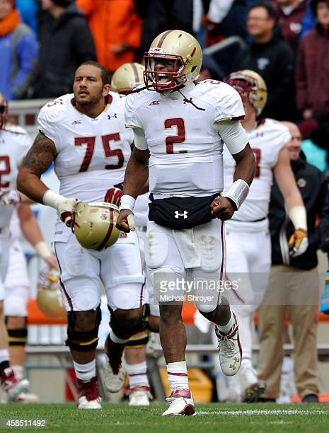 Quarterback Tyler Murphy of the Boston College Eagles reacts after a defensive stop in the first half against the Virginia Tech Hokies at Lane...