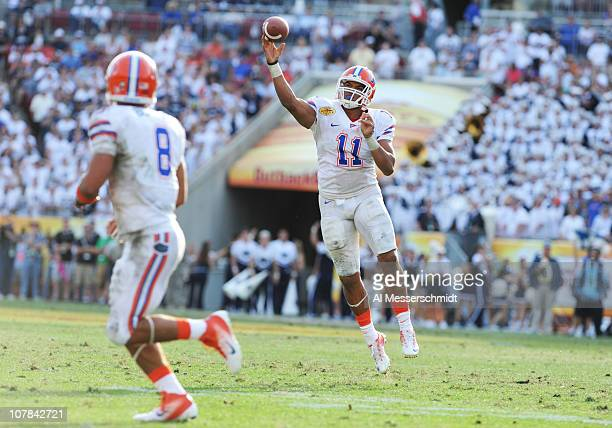 Quarterback Tyler Murphy of the Florida Gators releases a pass against the Penn State Nittany Lions January 1, 2011 in the 25th Outback Bowl at...
