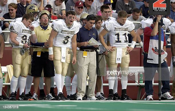 Quarterback Tyler Palko coach Walt Harris and quarterback Luke Getsy of Pittsburgh during Pittsburgh's 2413 victory over BC at Alumni Stadium in...