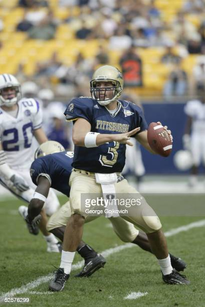 Quarterback Tyler Palko of the University of Pittsburgh Panthers passes against the Furman University Paladins at Heinz Field on September 25, 2004...
