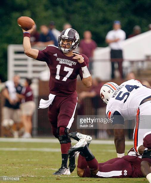 Quarterback Tyler Russell of the Mississippi State Bulldogs throws a pass against Auburn in the first quarter of a NCAA college football game on...