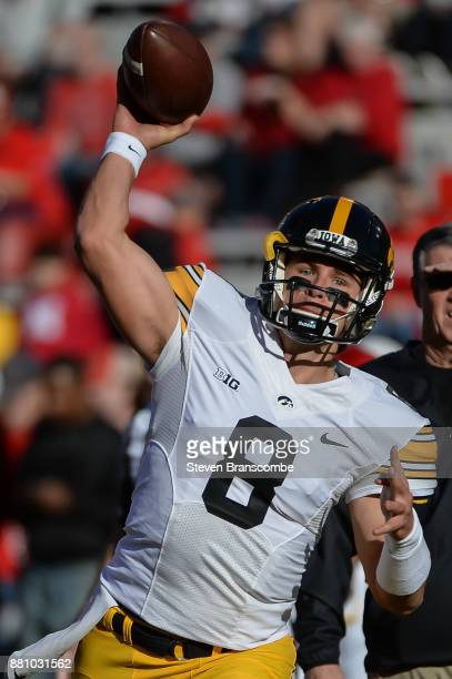 Quarterback Tyler Wiegers of the Iowa Hawkeyes warms up before the game against the Nebraska Cornhuskers at Memorial Stadium on November 24 2017 in...