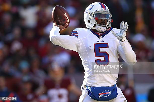 Quarterback Tyrod Taylor of the Buffalo Bills looks to pass against the Washington Redskins in the first half at FedExField on December 20 2015 in...