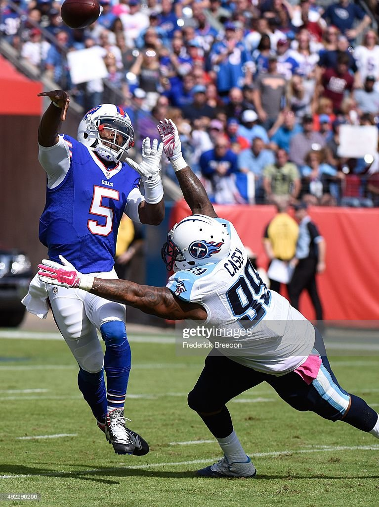 Quarterback Tyrod Taylor #5 of the Buffalo Bills passes the ball against Jurrell Casey #99 of the Tennessee Titans during the second half of a game at Nissan Stadium on October 11, 2015 in Nashville, Tennessee.