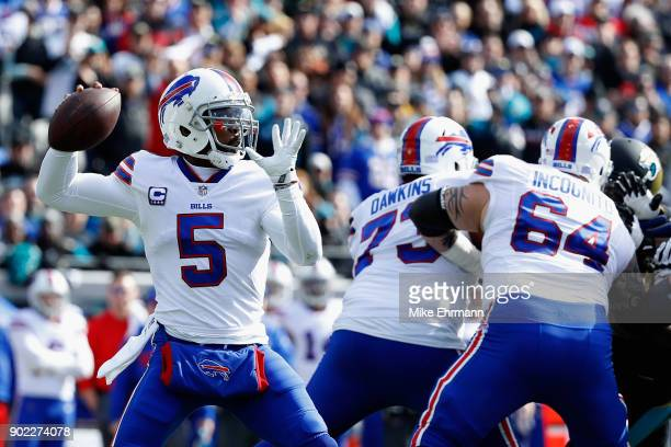 Quarterback Tyrod Taylor of the Buffalo Bills throws a first quarter pass against the Jacksonville Jaguars during the AFC Wild Card Playoff game at...