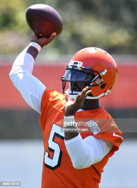 Quarterback Tyrod Taylor of the Cleveland Browns throws a pass during an OTA practice at the Cleveland Browns training facility in Berea Ohio