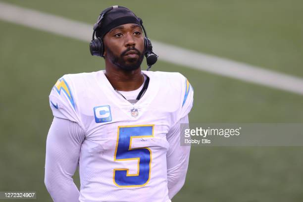 Quarterback Tyrod Taylor of the Los Angeles Chargers looks on after defeating the Cincinnati Bengals during the second half at Paul Brown Stadium on...