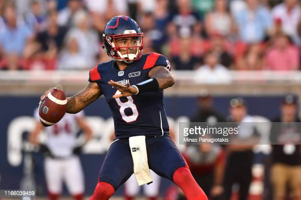 Quarterback Vernon Adams Jr. #8 of the Montreal Alouettes looks to pass the ball against the Ottawa RedBlacks during the CFL game at Percival Molson...