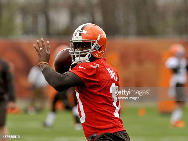 Quarterback Vince Young of the Cleveland Browns throws a pass during a mini camp practice at the Cleveland Browns training facility in Berea Ohio on...