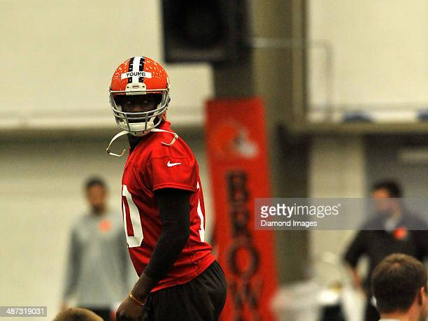 Quarterback Vince Young of the Cleveland Browns walks into a drill during a mini camp practice at the Cleveland Browns training facility in Berea...