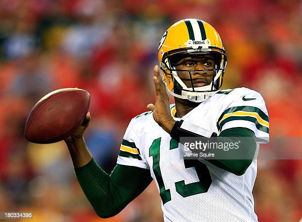 Quarterback Vince Young of the Green Bay Packers passes during the preseason game against the Kansas City Chiefs on at Arrowhead Stadium on August 29...