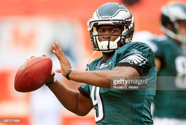 Quarterback Vince Young of the Philadelphia Eagles warms up before a NFL game against the Miami Dolphins at Sun Life Stadium on December 11 2011 in...