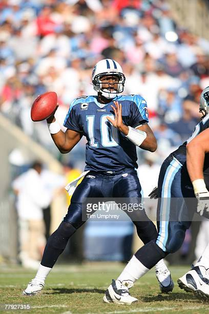 Quarterback Vince Young of the Tennessee Titans drops back to pass in a game against the Carolina Panthers at LP Field on November 4 2007 in...