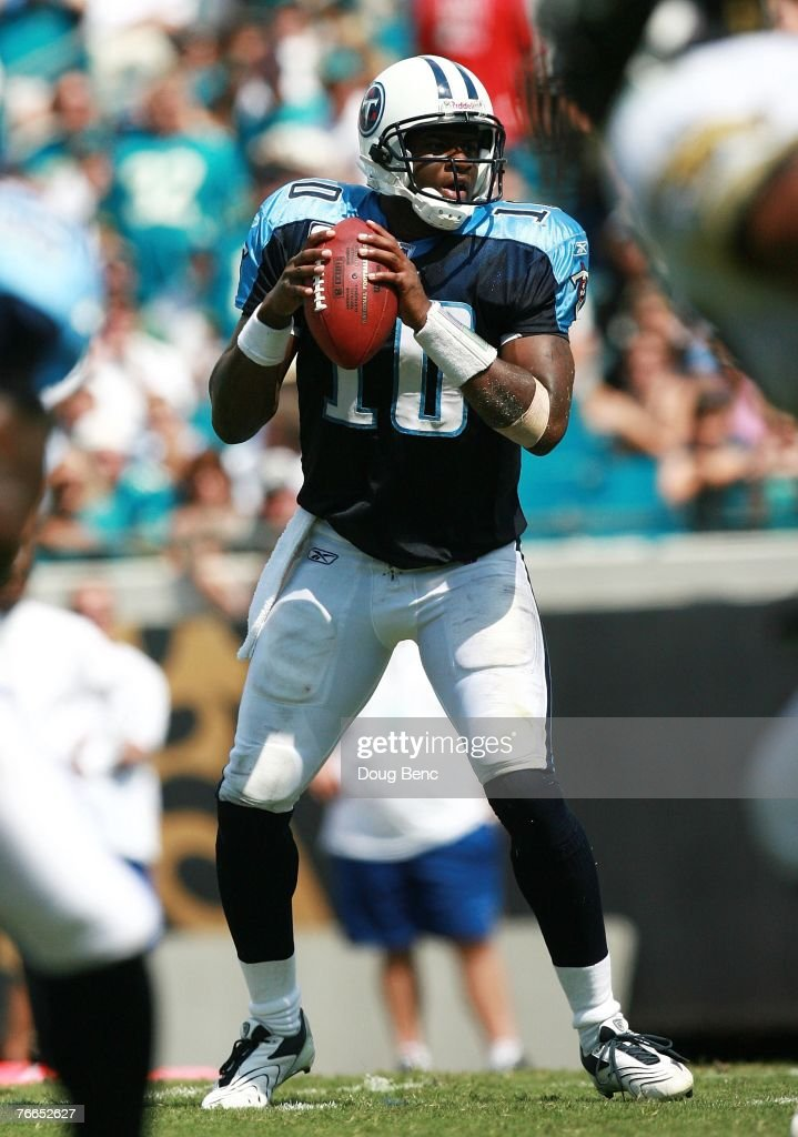 Quarterback Vince Young #10 of the Tennessee Titans drops back to pass against the Jacksonville Jaguars at Alltel Stadium on September 9, 2007 in Jacksonville, Florida. The Titans defeated the Jaguars 13-10.