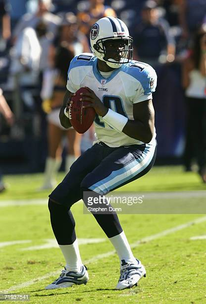 Quarterback Vince Young of the Tennessee Titans scrambles to pass during the NFL game against the San Diego Chargers held on September 17, 2006 at...