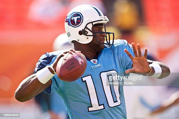 Quarterback Vince Young of the Tennessee Titans warms up before a NFL game against the Miami Dolphins at Sun Life Stadium on November 14 2010 in...