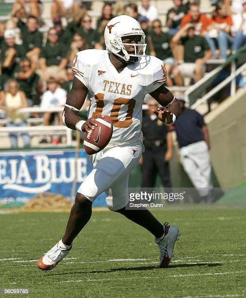 Quarterback Vince Young of the Texas Longhorns carries the ball against the Baylor Bears on November 5 2005 at Floyd Casey Stadium in Waco Texas...