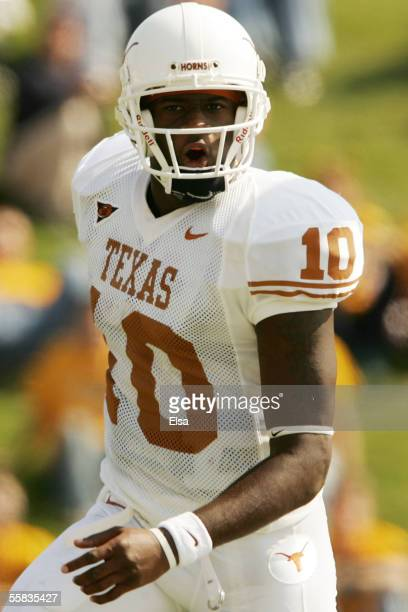 Quarterback Vince Young of the Texas Longhorns celebrates a touchdown against the Missouri Tigers on October 1, 2005 at Faurot Field in Columbia,...