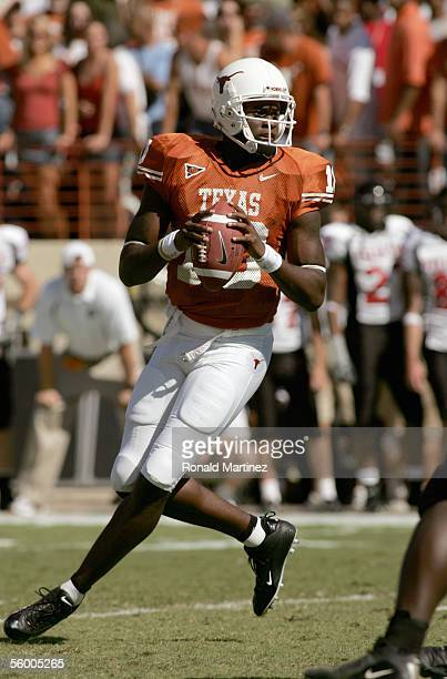 Quarterback Vince Young of the Texas Longhorns drops back to pass during the game against the Texas Tech Red Raiders on October 22, 2005 at Texas...