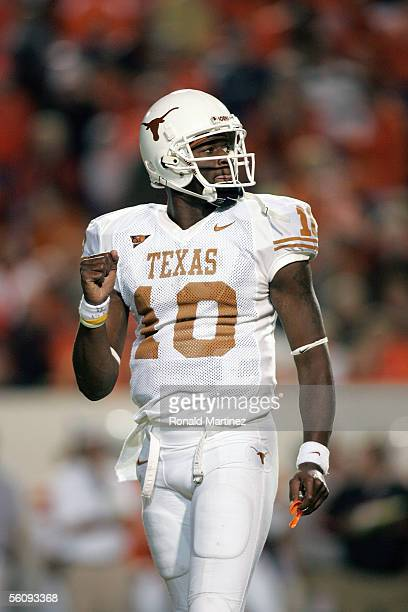 Quarterback Vince Young of the Texas Longhorns looks on against the Oklahoma State Cowboys on October 29 2005 at Boone Pickens Stadium in Stillwater...