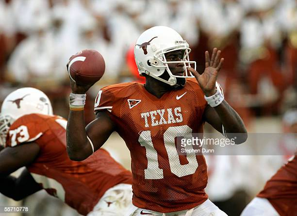 Quarterback Vince Young of the Texas Longhorns looks to pass against the Rice Owls on September 17, 2005 at Darrell K Royal-Texas Memorial Stadium in...