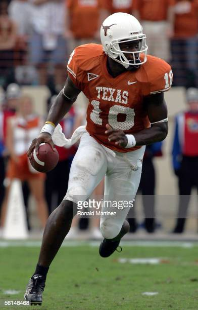 Quarterback Vince Young of the Texas Longhorns looks to pass against the Kansas Jayhawks on November 12 2005 at Texas Memorial Stadium in Austin Texas