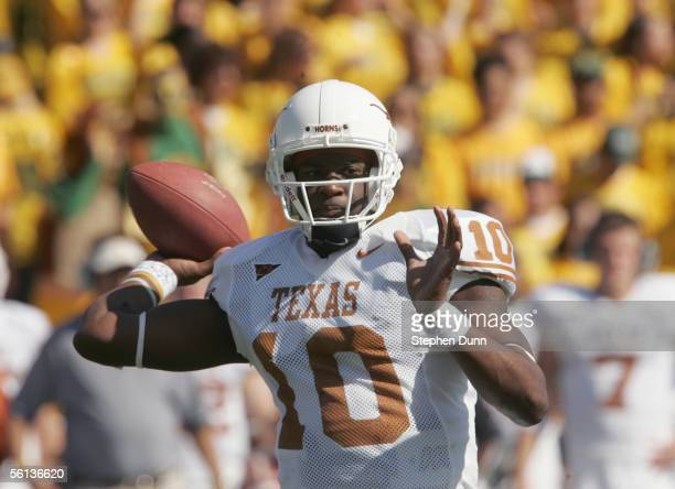 Quarterback Vince Young of the Texas Longhorns passes the ball during the game against the Baylor Bears on November 5, 2005 at Floyd Casey Stadium in...