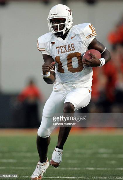 Quarterback Vince Young of the Texas Longhorns runs the ball against the Oklahoma State Cowboys October 29 2005 at Boone Pickens Stadium in...