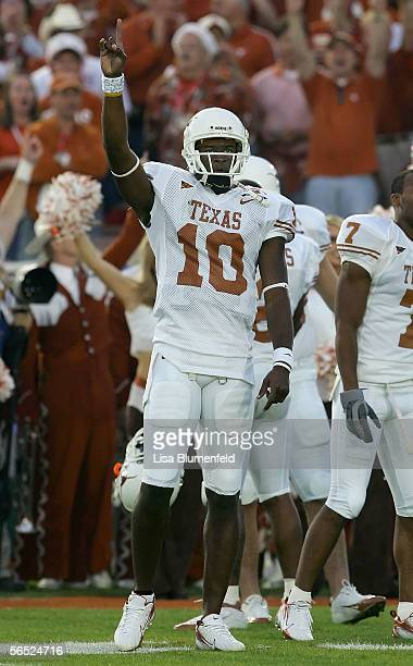 Quarterback Vince Young of the Texas Longhorns stands on the field during warmups before the start of the BCS National Championship Rose Bowl Game...