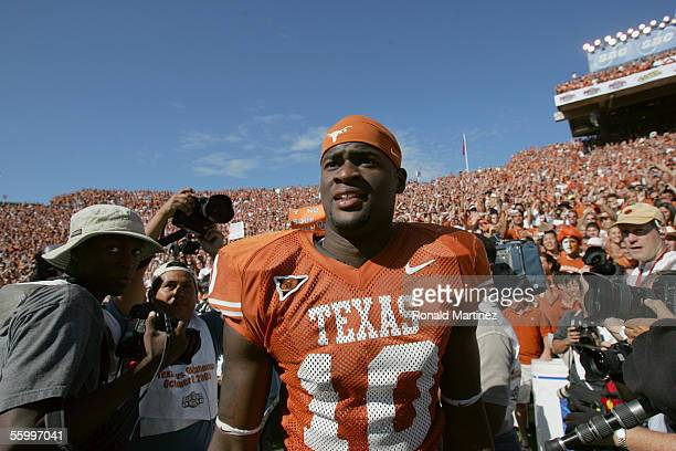 Quarterback Vince Young of the Texas Longhorns walks off the field following the game against the Oklahoma Sooners on October 8 2005 at the Cotton...