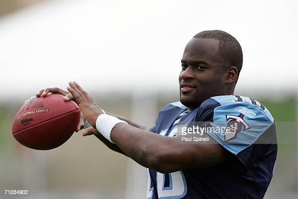 Quarterback Vince Young the Tennessee Titans first round NFL draft pick plays catch during a break in the action at the NFL Players Rookie Premiere...