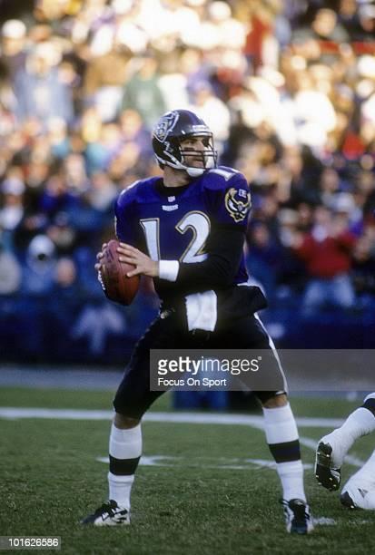Quarterback Vinny Testaverde of the Baltimore Ravens drops back to pass circa 1997 during an NFL football game at Memorial Stadium in Baltimore...