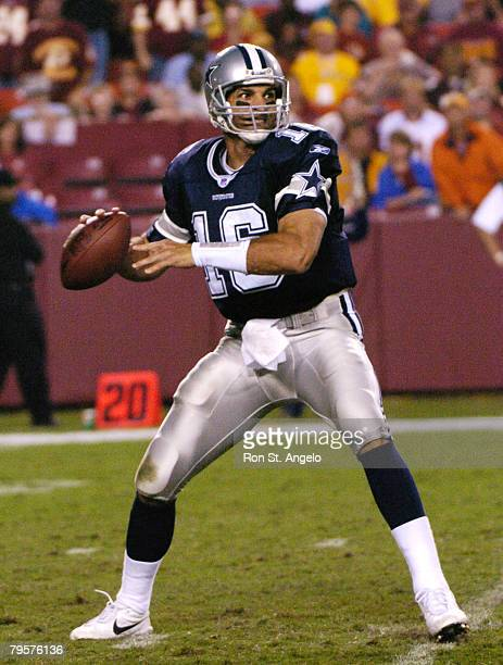 Quarterback Vinny Testaverde of the Dallas Cowboys in a game with the Washington Redskins at FedEx Field in Landover Maryland on September 27 2004...