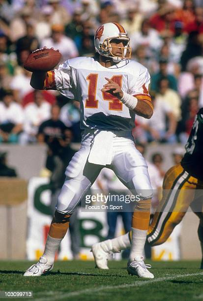 Quarterback Vinny Testaverde of the Tampa Bay Buccaneers drops back to pass against the Los Angeles Rams September 16 1990 during an NFL football...