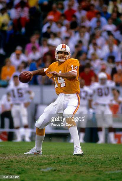 Quarterback Vinny Testaverde of the Tampa Bay Buccaneers drops back to pass circa 1990 during an NFL football game at Tampa Stadium in Tampa Bay...