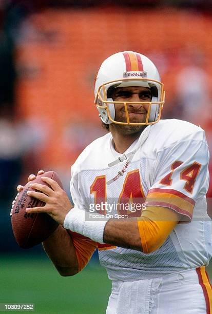 Quarterback Vinny Testaverde of the Tampa Bay Buccaneers warming up November 18 1990 before the start of an NFL football game against the San...