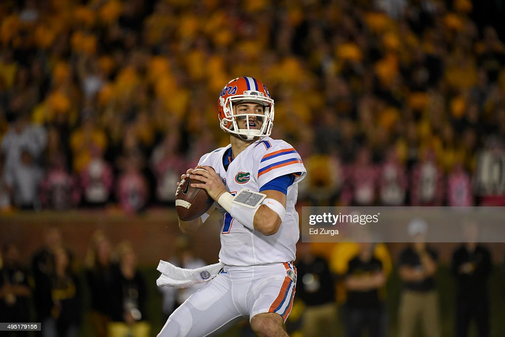 Quarterback Will Grier #7 of the Florida Gators rolls out as he looks to pass against the Missouri Tigers at Memorial Stadium on October 10, 2015 in Columbia, Missouri.