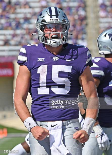 Quarterback Will Howard of the Kansas State Wildcats celebrates after rushing for a first down against the Nevada Wolf Pack, during the second half...