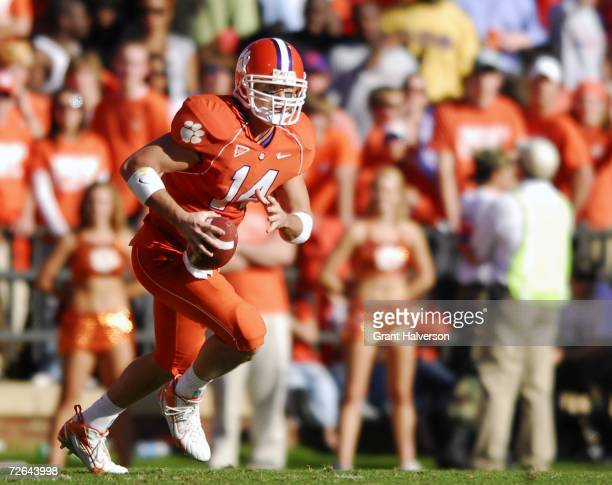 Quarterback Will Proctor of the Clemson Tigers rolls out against the South Carolina Gamecocks during an NCAA football game at Memorial Stadium...