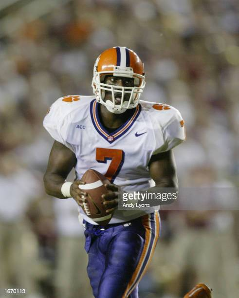 Quarterback Willie Simmons of the Clemson Tigers runs with the ball during the Atlantic Coast Conference football game against the Florida State...
