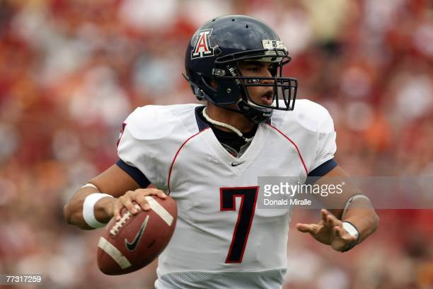 Quarterback Willie Tuitama of the Arizona Wildcats competes against the USC Trojans during the first half of their Pac10 Conference Game at the Los...