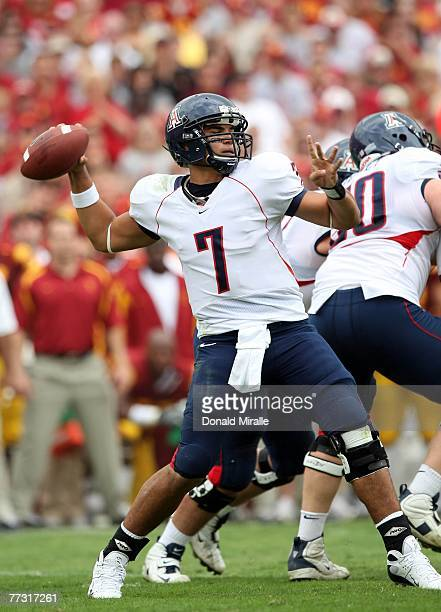 Quarterback Willie Tuitama of the Arizona Wildcats throws against the USC Trojans during the first half of their Pac10 Conference Game at the Los...