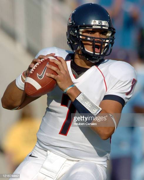 Quarterback Willie Tuitama of the University of Arizona Wildcats prepares to throw the ball in a 27 to 7 loss to the UCLA Bruins on October 7 2006 at...