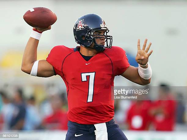 Quarterback Willie Tuitama of the University of Arizona Wildcats looks to pass in the first half against the UCLA Bruins on November 5 2005 at...