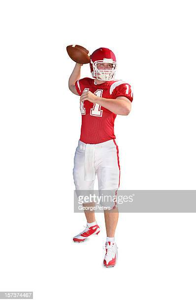 quarterback with clipping path - quarterback stock pictures, royalty-free photos & images